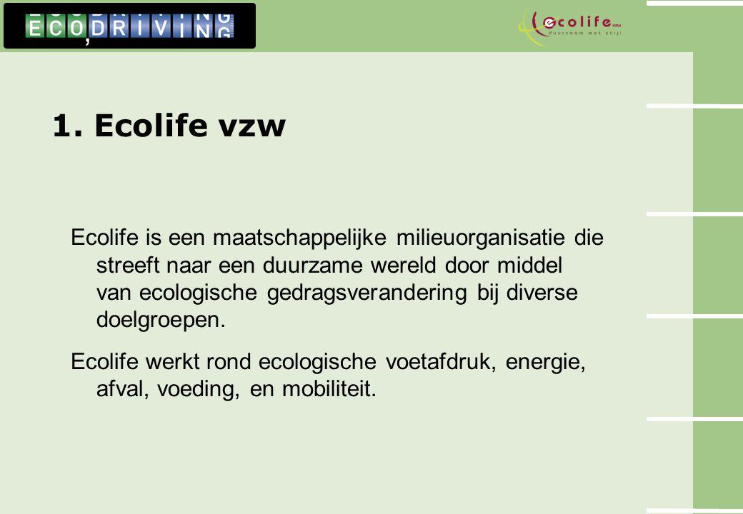 1. Ecolife vzw Ecolife is een maatschappelijke milieuorganisatie die streeft naar een duurzame wereld door middel van ecologische gedragsverandering b