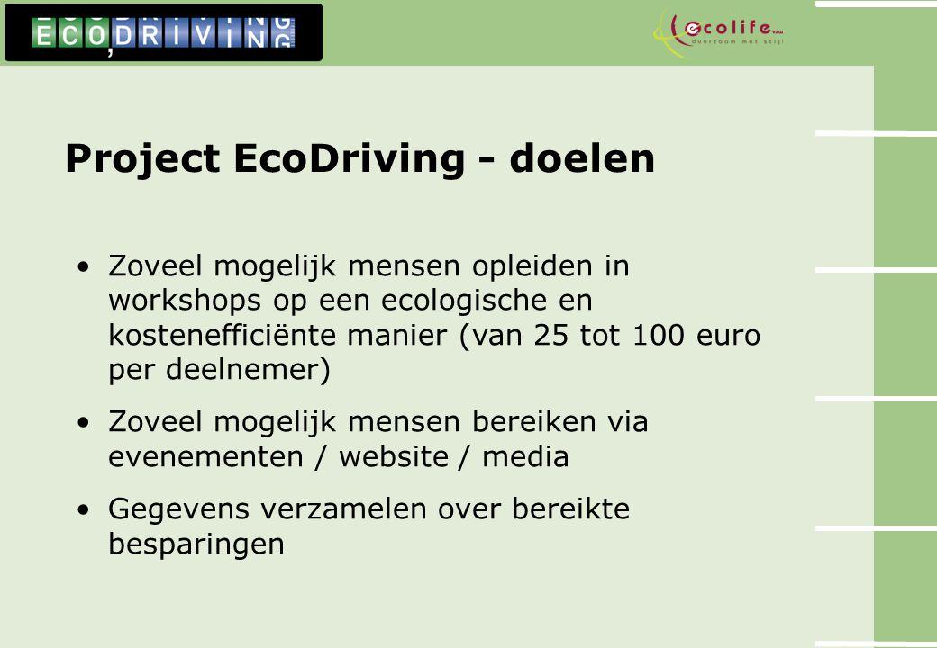 Project EcoDriving - doelen Zoveel mogelijk mensen opleiden in workshops op een ecologische en kostenefficiënte manier (van 25 tot 100 euro per deelne