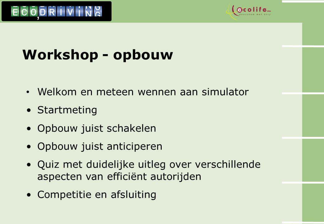 Workshop - opbouw Welkom en meteen wennen aan simulator Startmeting Opbouw juist schakelen Opbouw juist anticiperen Quiz met duidelijke uitleg over ve