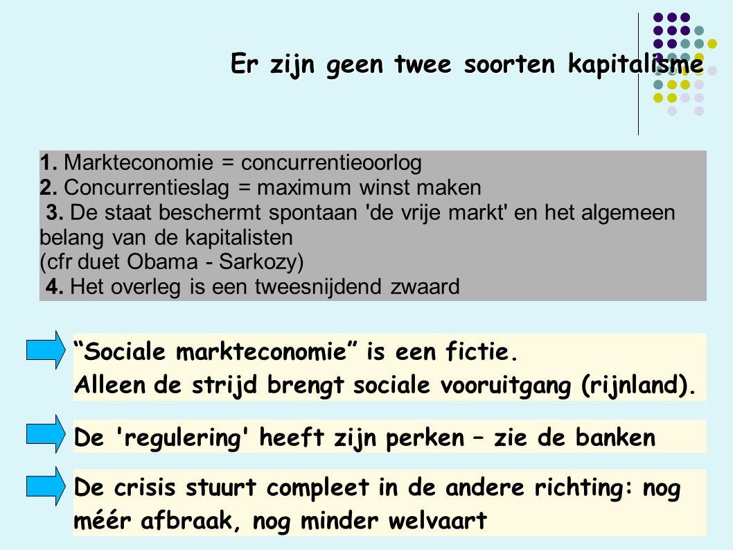Er zijn geen twee soorten kapitalisme 1. Markteconomie = concurrentieoorlog 2.