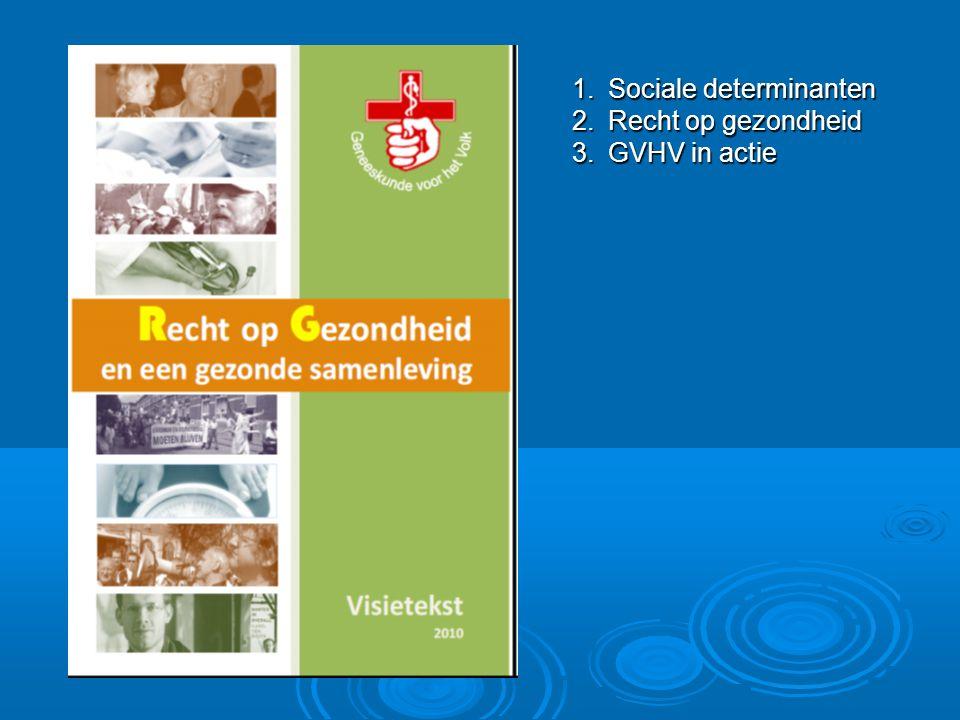 1.Sociale determinanten 2.Recht op gezondheid 3.GVHV in actie