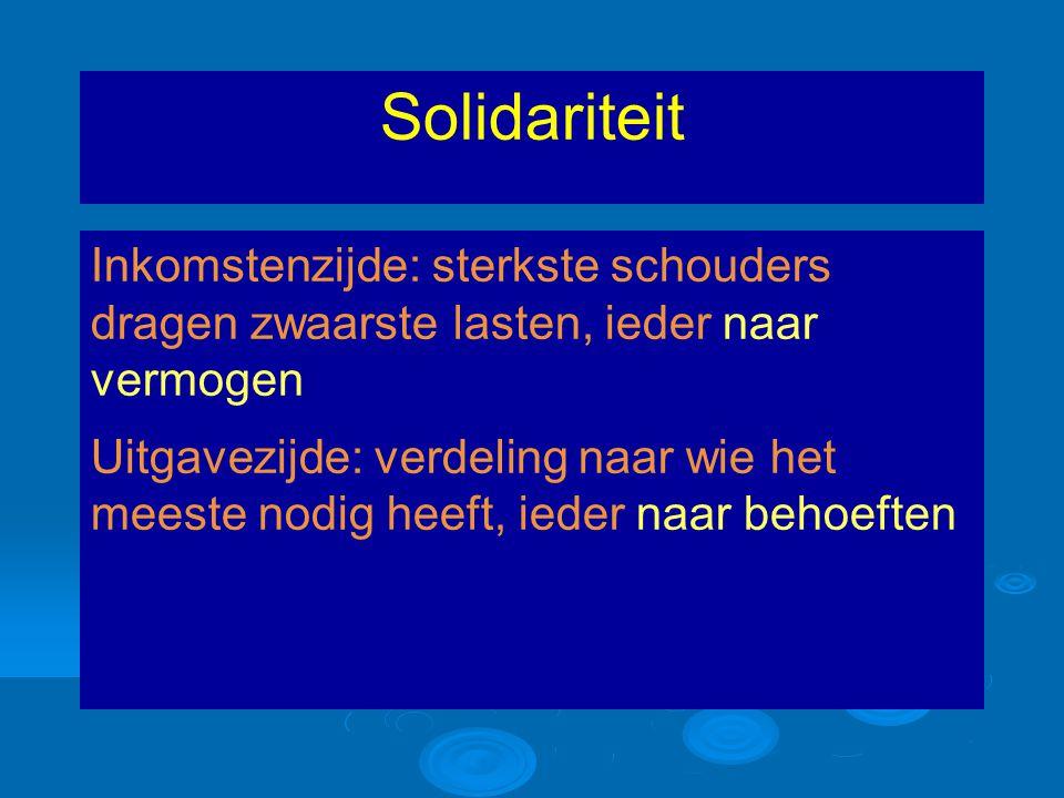 Solidariteit Inkomstenzijde: sterkste schouders dragen zwaarste lasten, ieder naar vermogen Uitgavezijde: verdeling naar wie het meeste nodig heeft, ieder naar behoeften