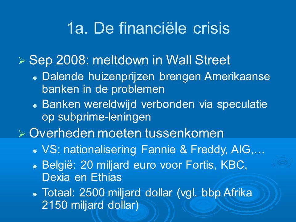 1a. De financiële crisis  Sep 2008: meltdown in Wall Street Dalende huizenprijzen brengen Amerikaanse banken in de problemen Banken wereldwijd verbon