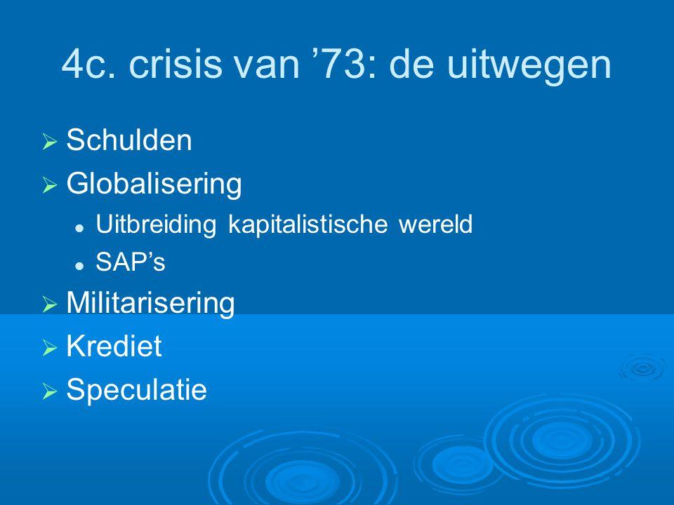 4c. crisis van '73: de uitwegen  Schulden  Globalisering Uitbreiding kapitalistische wereld SAP's  Militarisering  Krediet  Speculatie