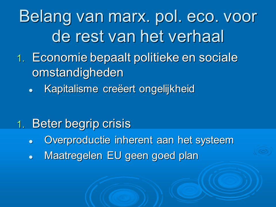 Belang van marx. pol. eco. voor de rest van het verhaal 1.
