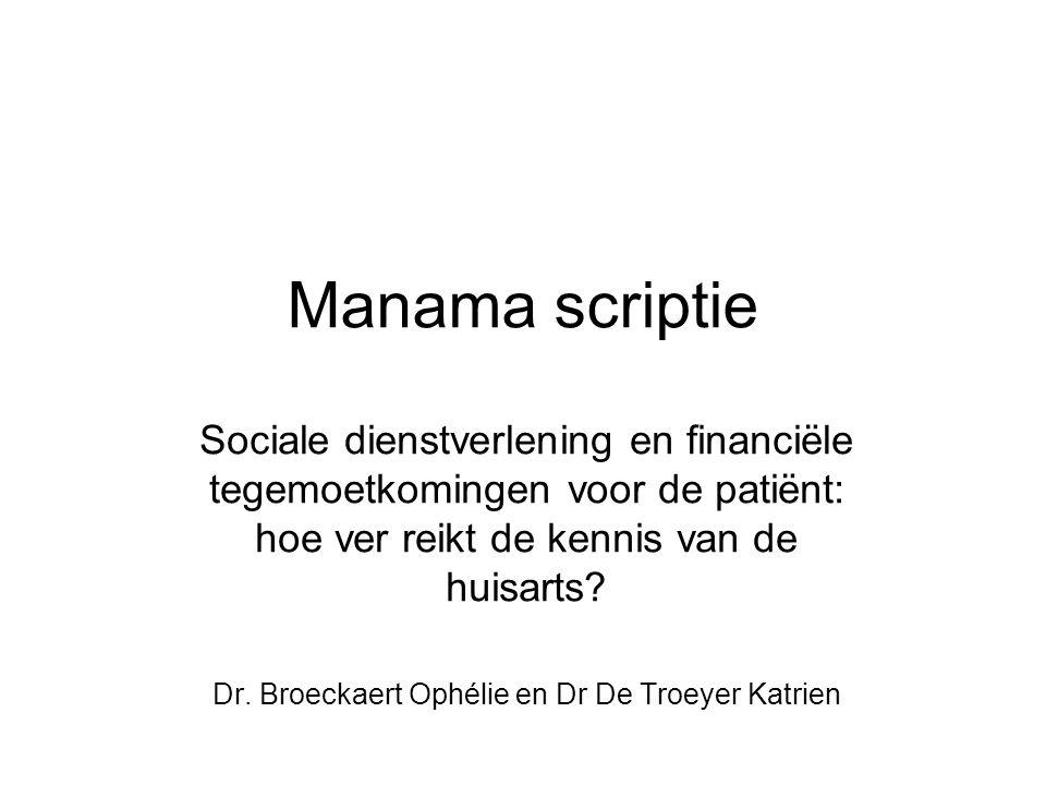 Onderzoeksvragen  Wat is de kennis van de huisarts over financiële maatregelen en sociale dienstverlening.