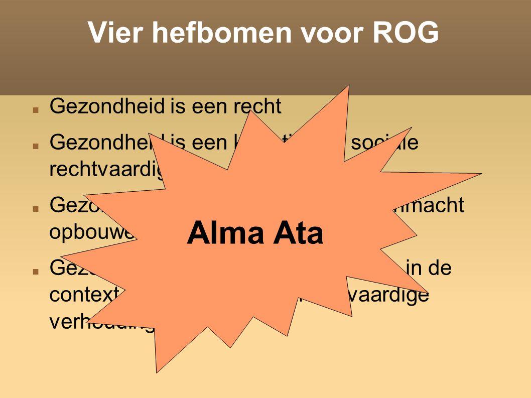 Vier hefbomen voor ROG Gezondheid is een recht Gezondheid is een kwestie van sociale rechtvaardigheid Gezondheid is een kwestie van tegenmacht opbouwen Gezondheid moet aangepakt worden in de context van internationale rechtvaardige verhoudingen Alma Ata