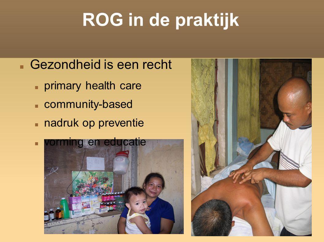 ROG in de praktijk Gezondheid is een recht primary health care community-based nadruk op preventie vorming en educatie