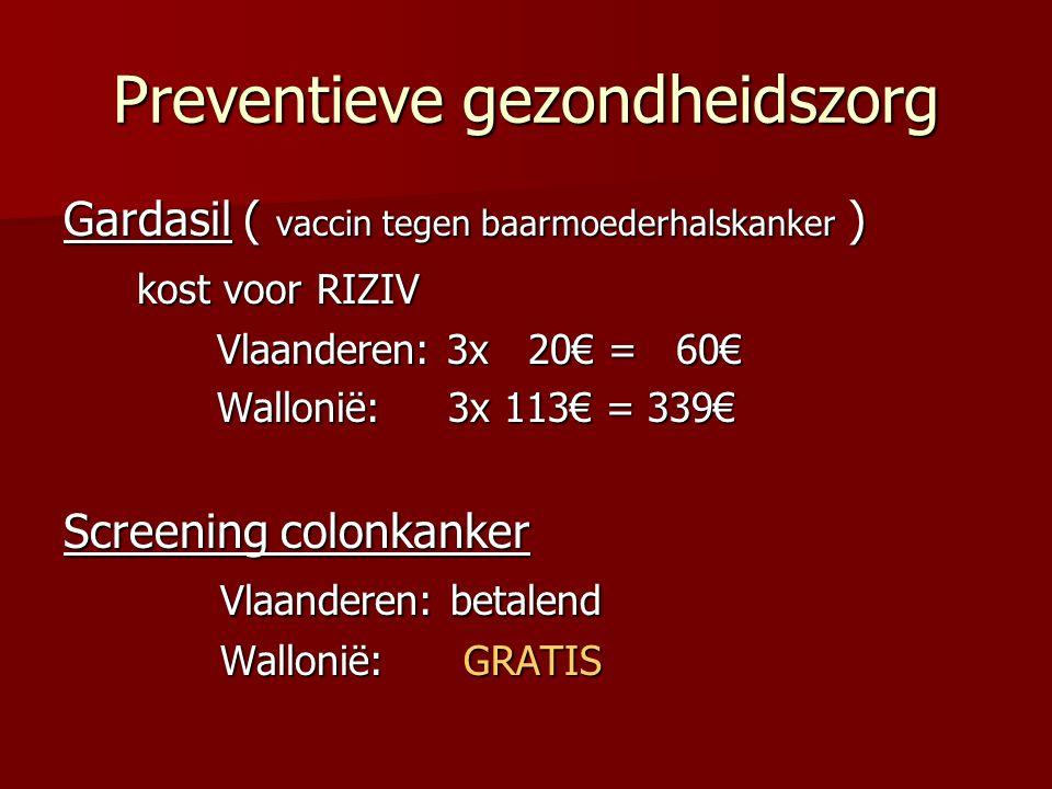 Preventieve gezondheidszorg Gardasil ( vaccin tegen baarmoederhalskanker ) kost voor RIZIV kost voor RIZIV Vlaanderen: 3x 20€ = 60€ Vlaanderen: 3x 20€ = 60€ Wallonië: 3x 113€ = 339€ Wallonië: 3x 113€ = 339€ Screening colonkanker Vlaanderen: betalend Vlaanderen: betalend Wallonië: GRATIS Wallonië: GRATIS
