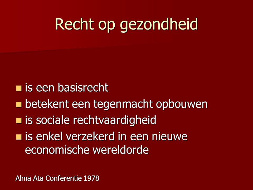 Recht op gezondheid is een basisrecht is een basisrecht betekent een tegenmacht opbouwen betekent een tegenmacht opbouwen is sociale rechtvaardigheid is sociale rechtvaardigheid is enkel verzekerd in een nieuwe economische wereldorde is enkel verzekerd in een nieuwe economische wereldorde Alma Ata Conferentie 1978