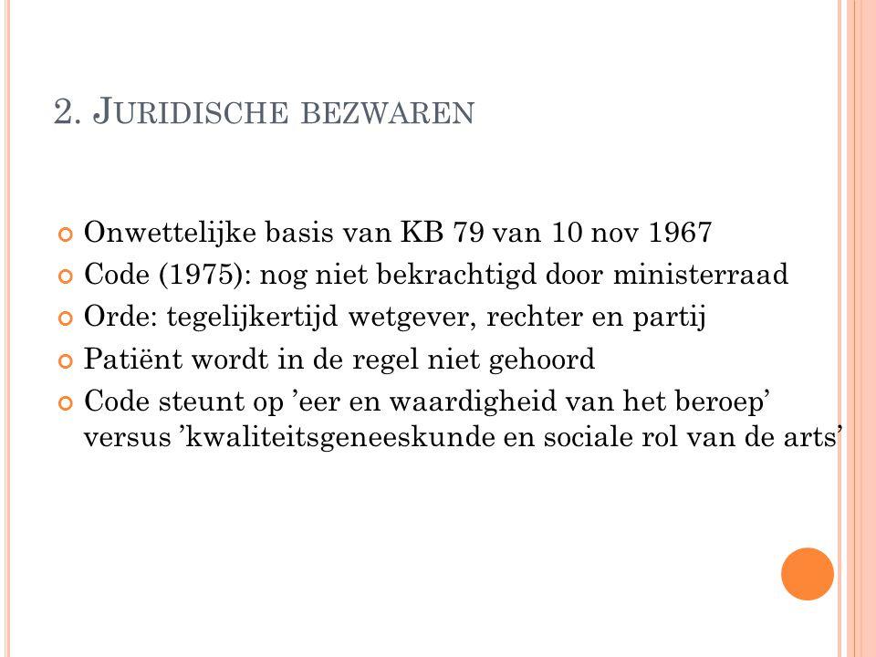 2. J URIDISCHE BEZWAREN Onwettelijke basis van KB 79 van 10 nov 1967 Code (1975): nog niet bekrachtigd door ministerraad Orde: tegelijkertijd wetgever