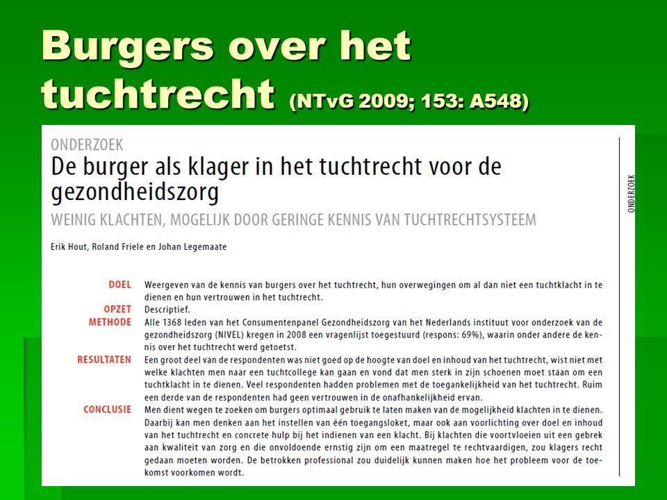 Burgers over het tuchtrecht (NTvG 2009; 153: A548)