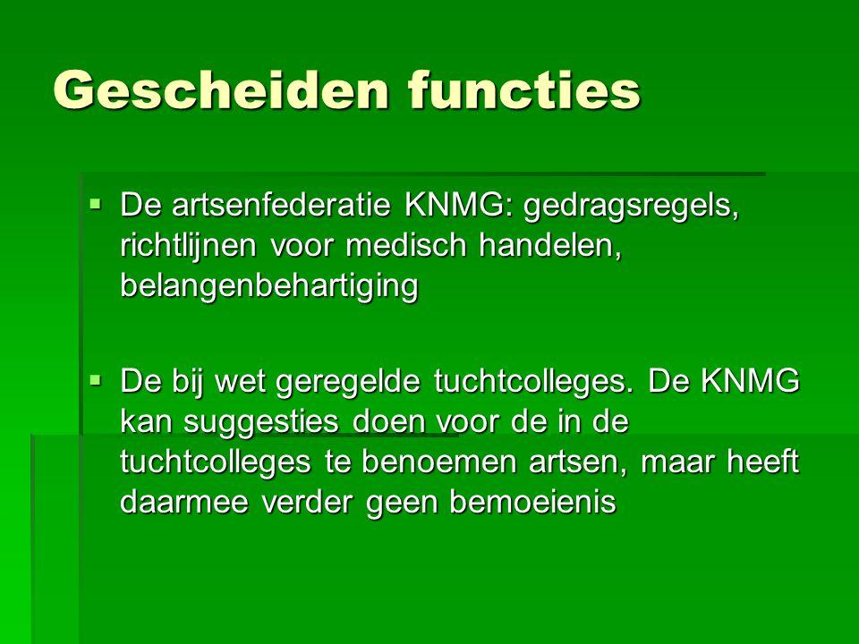 Gescheiden functies  De artsenfederatie KNMG: gedragsregels, richtlijnen voor medisch handelen, belangenbehartiging  De bij wet geregelde tuchtcolle