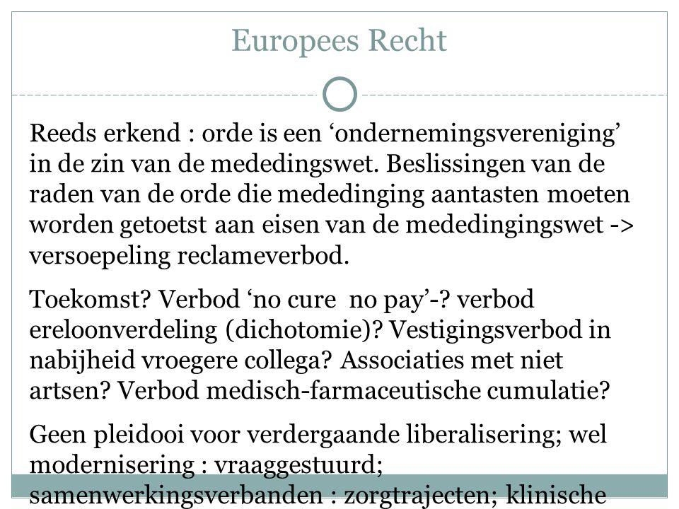 Europees Recht Reeds erkend : orde is een 'ondernemingsvereniging' in de zin van de mededingswet. Beslissingen van de raden van de orde die mededingin