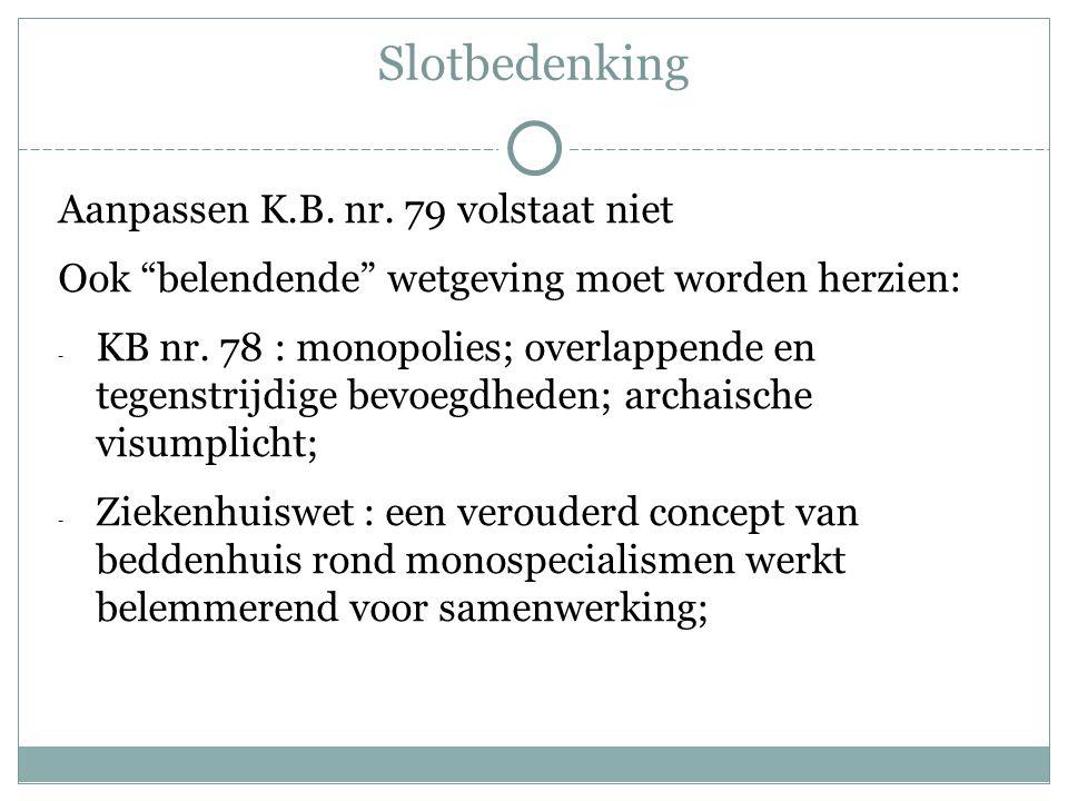 """Slotbedenking Aanpassen K.B. nr. 79 volstaat niet Ook """"belendende"""" wetgeving moet worden herzien: - KB nr. 78 : monopolies; overlappende en tegenstrij"""