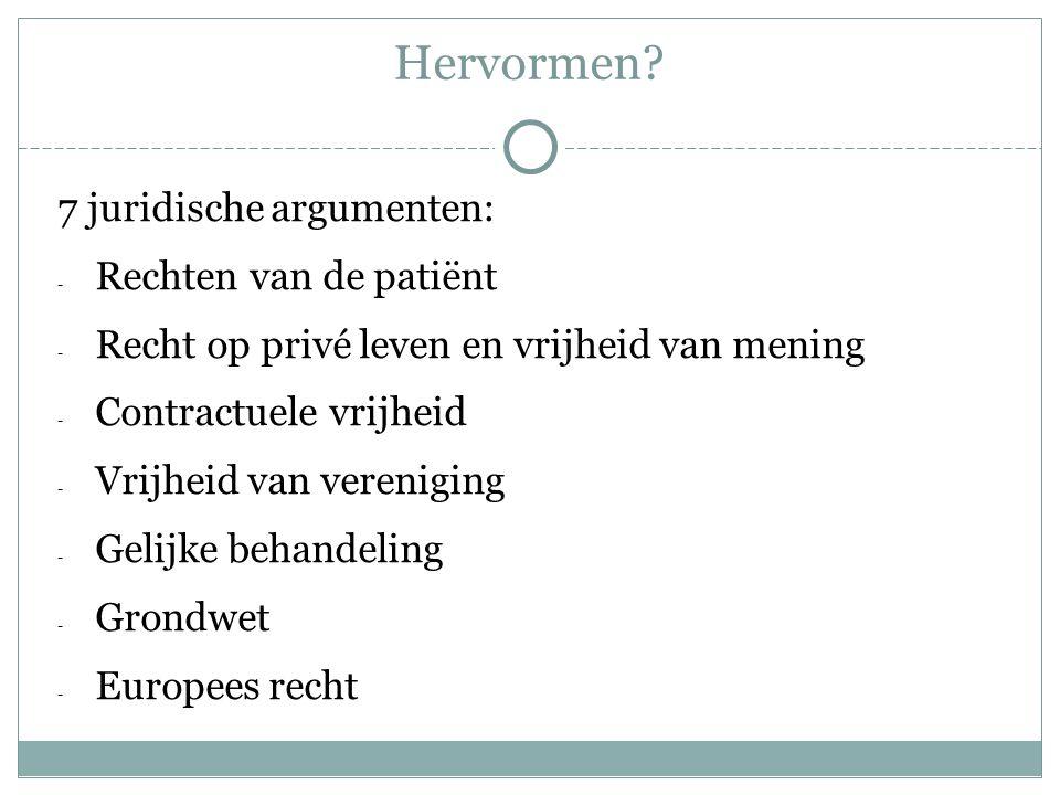 Hervormen? 7 juridische argumenten: - Rechten van de patiënt - Recht op privé leven en vrijheid van mening - Contractuele vrijheid - Vrijheid van vere