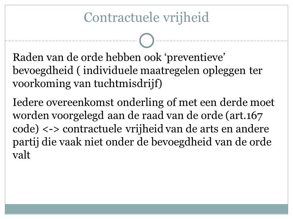 Contractuele vrijheid Raden van de orde hebben ook 'preventieve' bevoegdheid ( individuele maatregelen opleggen ter voorkoming van tuchtmisdrijf) Iede