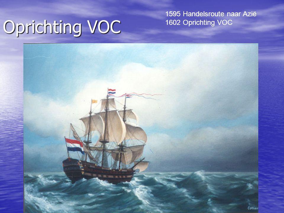 Oprichting VOC 1595 Handelsroute naar Azië 1602 Oprichting VOC