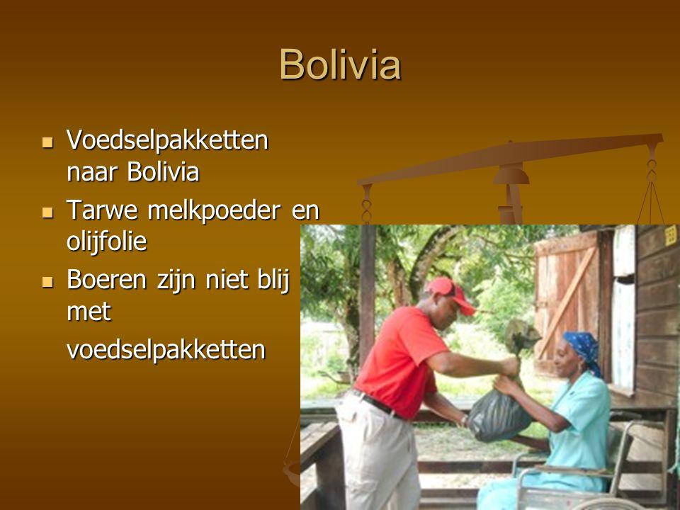 Bolivia Voedselpakketten naar Bolivia Voedselpakketten naar Bolivia Tarwe melkpoeder en olijfolie Tarwe melkpoeder en olijfolie Boeren zijn niet blij