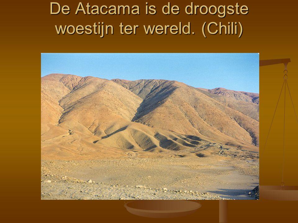 De Atacama is de droogste woestijn ter wereld. (Chili)