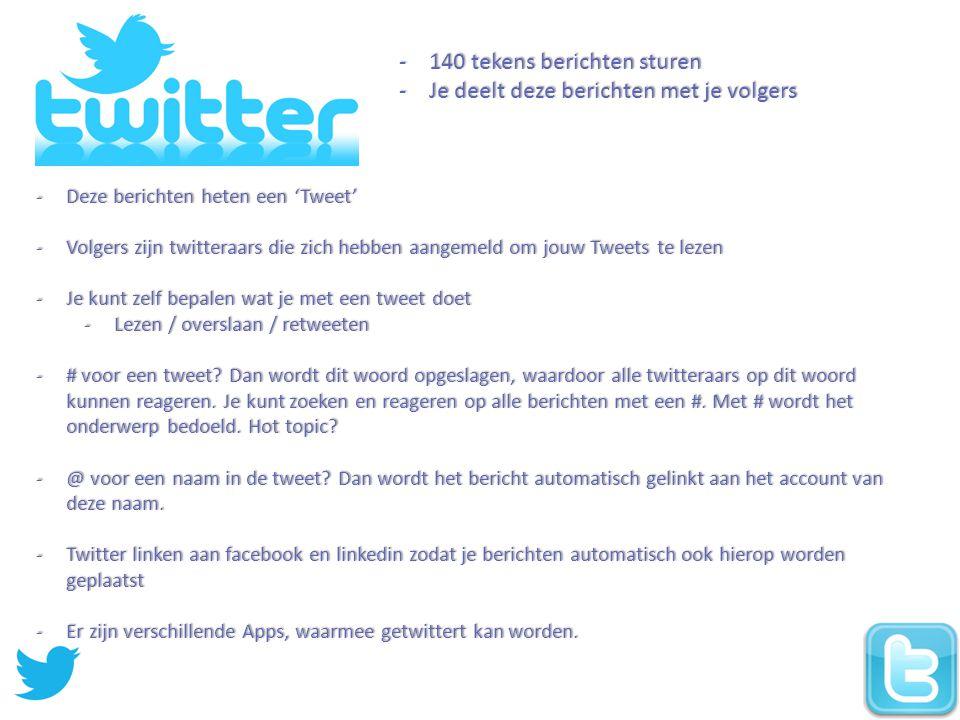 -140 tekens berichten sturen -Je deelt deze berichten met je volgers -Deze berichten heten een 'Tweet' -Volgers zijn twitteraars die zich hebben aangemeld om jouw Tweets te lezen -Je kunt zelf bepalen wat je met een tweet doet -Lezen / overslaan / retweeten -# voor een tweet.
