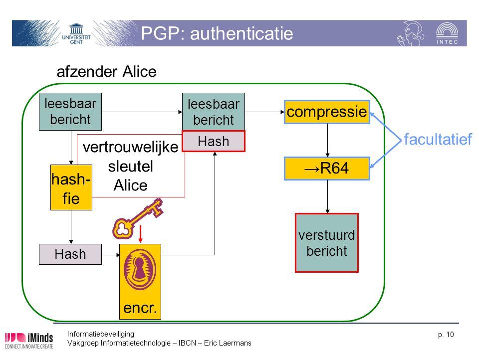 Informatiebeveiliging Vakgroep Informatietechnologie – IBCN – Eric Laermans p. 10 encr. PGP: authenticatie leesbaar bericht vertrouwelijke sleutel Ali