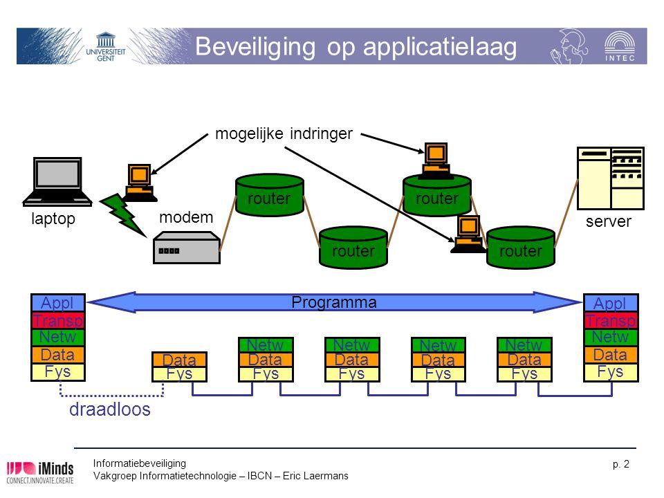 Informatiebeveiliging Vakgroep Informatietechnologie – IBCN – Eric Laermans p. 2 Beveiliging op applicatielaag router Transp Appl Netw Data Fys Transp