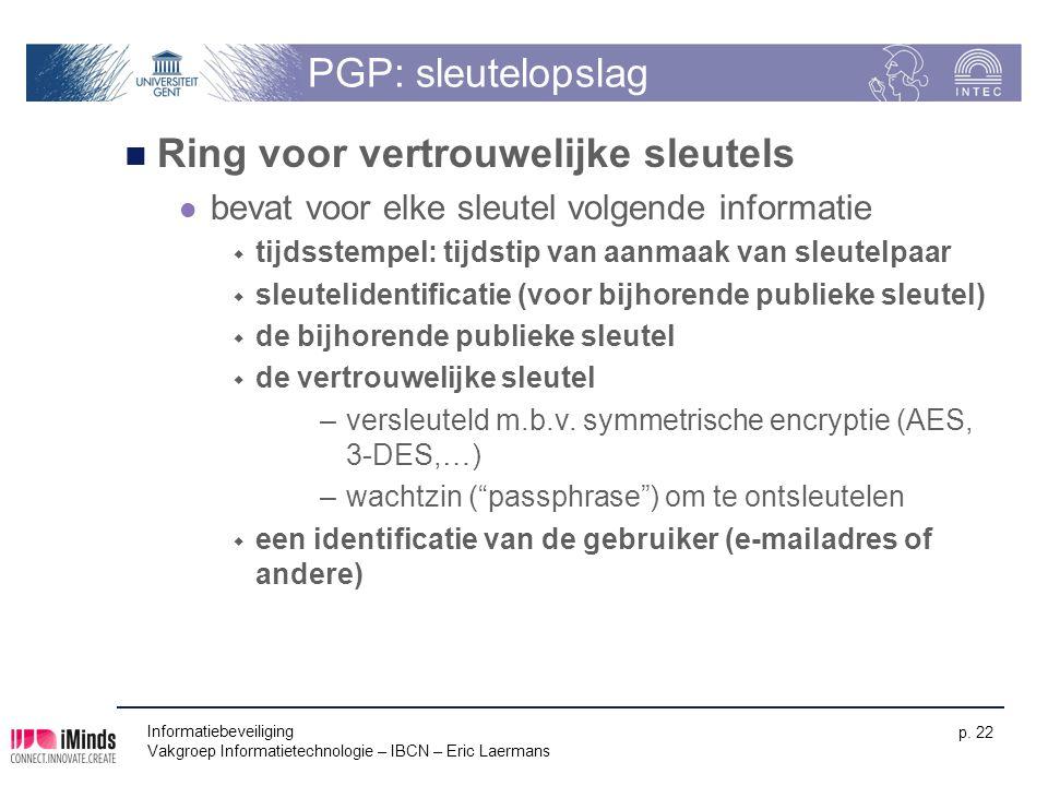 Informatiebeveiliging Vakgroep Informatietechnologie – IBCN – Eric Laermans p. 22 PGP: sleutelopslag Ring voor vertrouwelijke sleutels bevat voor elke