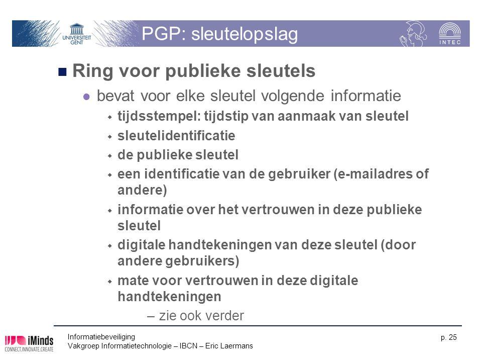 Informatiebeveiliging Vakgroep Informatietechnologie – IBCN – Eric Laermans p. 25 PGP: sleutelopslag Ring voor publieke sleutels bevat voor elke sleut