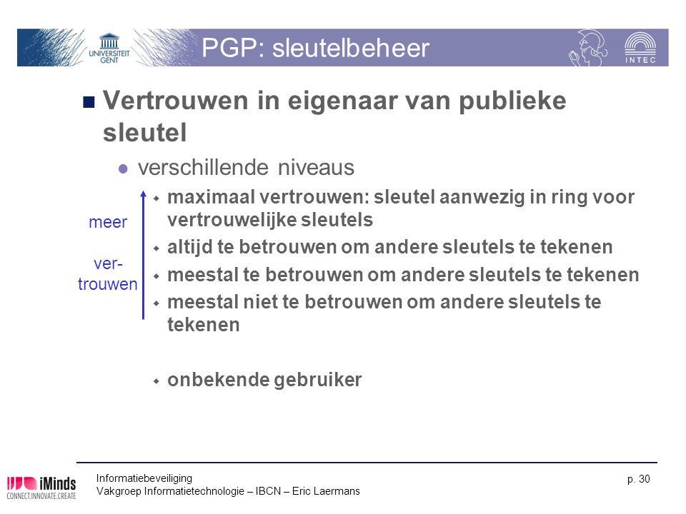 Informatiebeveiliging Vakgroep Informatietechnologie – IBCN – Eric Laermans p. 30 PGP: sleutelbeheer Vertrouwen in eigenaar van publieke sleutel versc