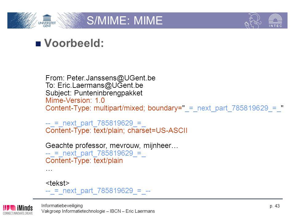 Informatiebeveiliging Vakgroep Informatietechnologie – IBCN – Eric Laermans p. 43 S/MIME: MIME Voorbeeld: From: Peter.Janssens@UGent.be To: Eric.Laerm