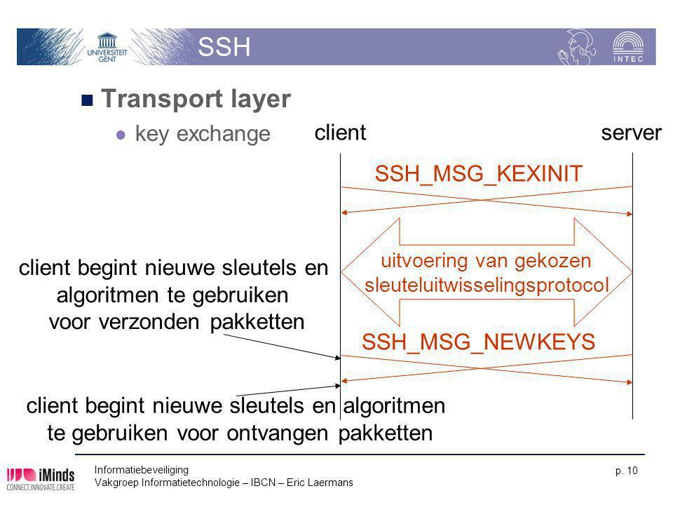 Informatiebeveiliging Vakgroep Informatietechnologie – IBCN – Eric Laermans p. 10 SSH Transport layer key exchange clientserver uitvoering van gekozen