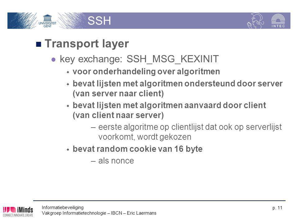 Informatiebeveiliging Vakgroep Informatietechnologie – IBCN – Eric Laermans p. 11 SSH Transport layer key exchange: SSH_MSG_KEXINIT  voor onderhandel