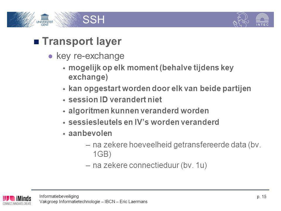 Informatiebeveiliging Vakgroep Informatietechnologie – IBCN – Eric Laermans p. 15 SSH Transport layer key re-exchange  mogelijk op elk moment (behalv
