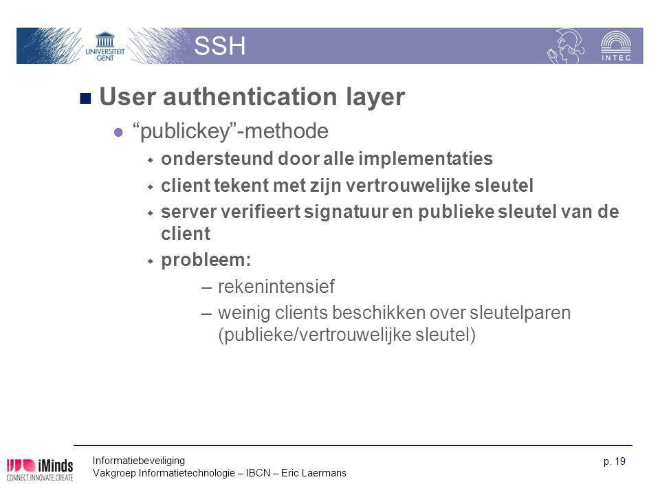 """Informatiebeveiliging Vakgroep Informatietechnologie – IBCN – Eric Laermans p. 19 SSH User authentication layer """"publickey""""-methode  ondersteund door"""