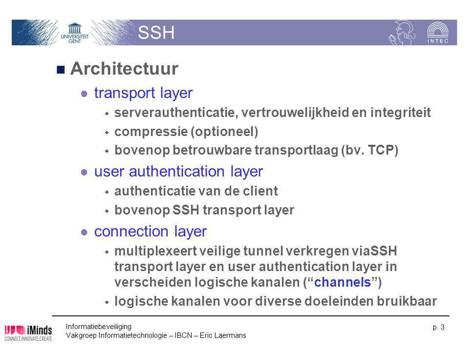 Informatiebeveiliging Vakgroep Informatietechnologie – IBCN – Eric Laermans p. 3 SSH Architectuur transport layer  serverauthenticatie, vertrouwelijk