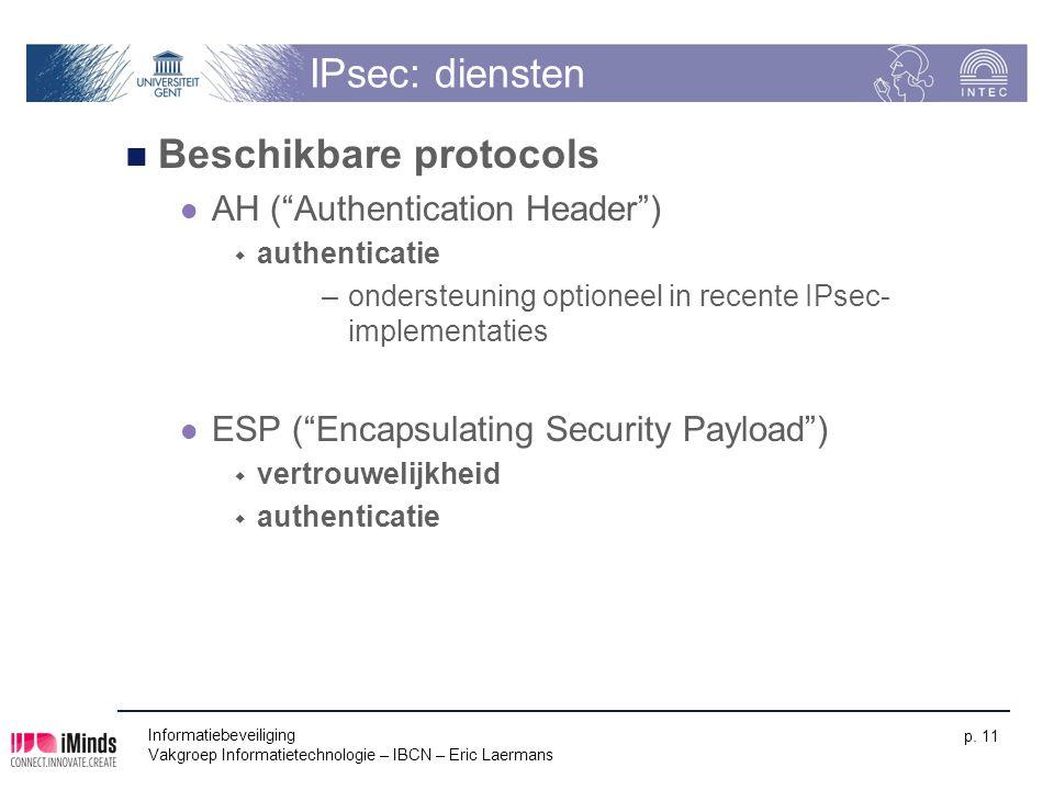 """Informatiebeveiliging Vakgroep Informatietechnologie – IBCN – Eric Laermans p. 11 IPsec: diensten Beschikbare protocols AH (""""Authentication Header"""") """