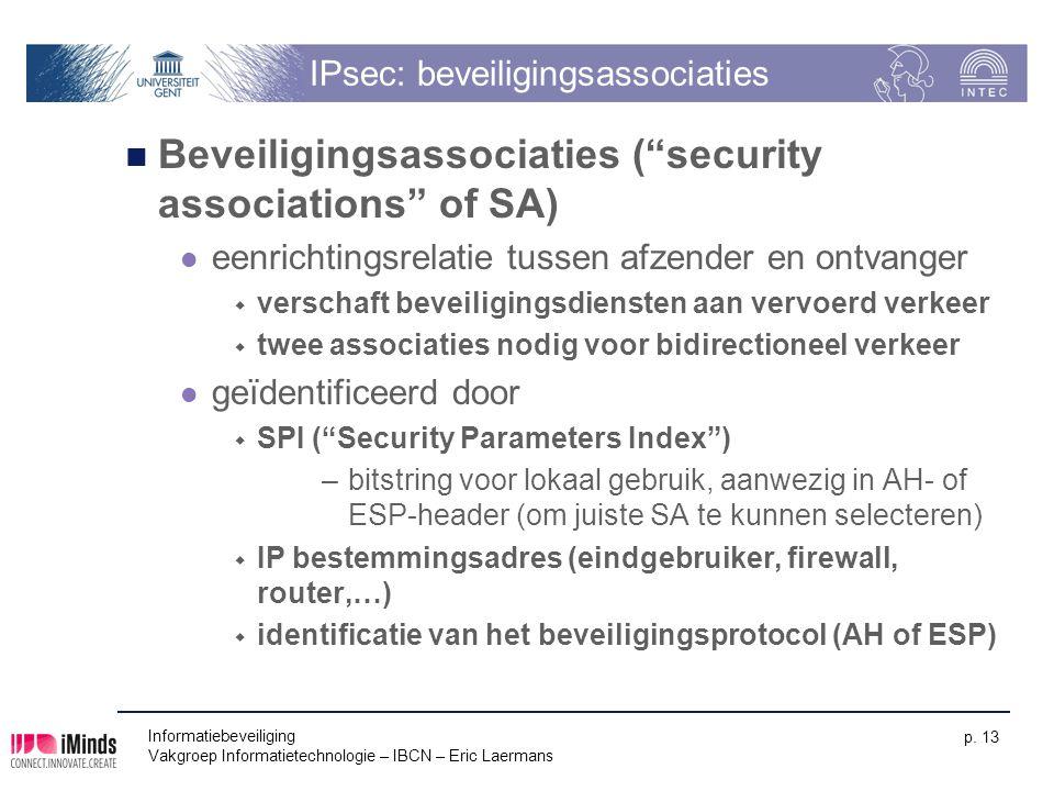 """Informatiebeveiliging Vakgroep Informatietechnologie – IBCN – Eric Laermans p. 13 IPsec: beveiligingsassociaties Beveiligingsassociaties (""""security as"""