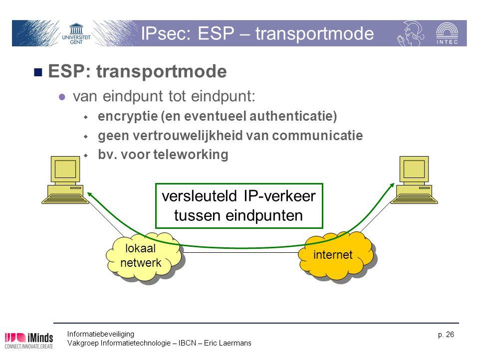 Informatiebeveiliging Vakgroep Informatietechnologie – IBCN – Eric Laermans p. 26 IPsec: ESP – transportmode ESP: transportmode van eindpunt tot eindp