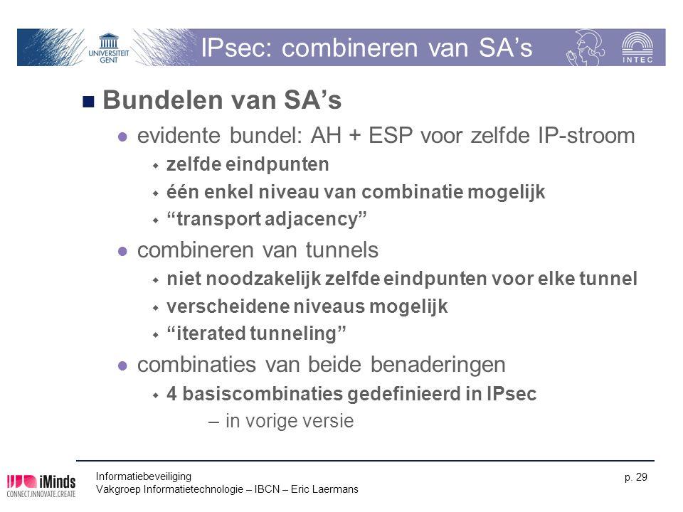 Informatiebeveiliging Vakgroep Informatietechnologie – IBCN – Eric Laermans p. 29 IPsec: combineren van SA's Bundelen van SA's evidente bundel: AH + E