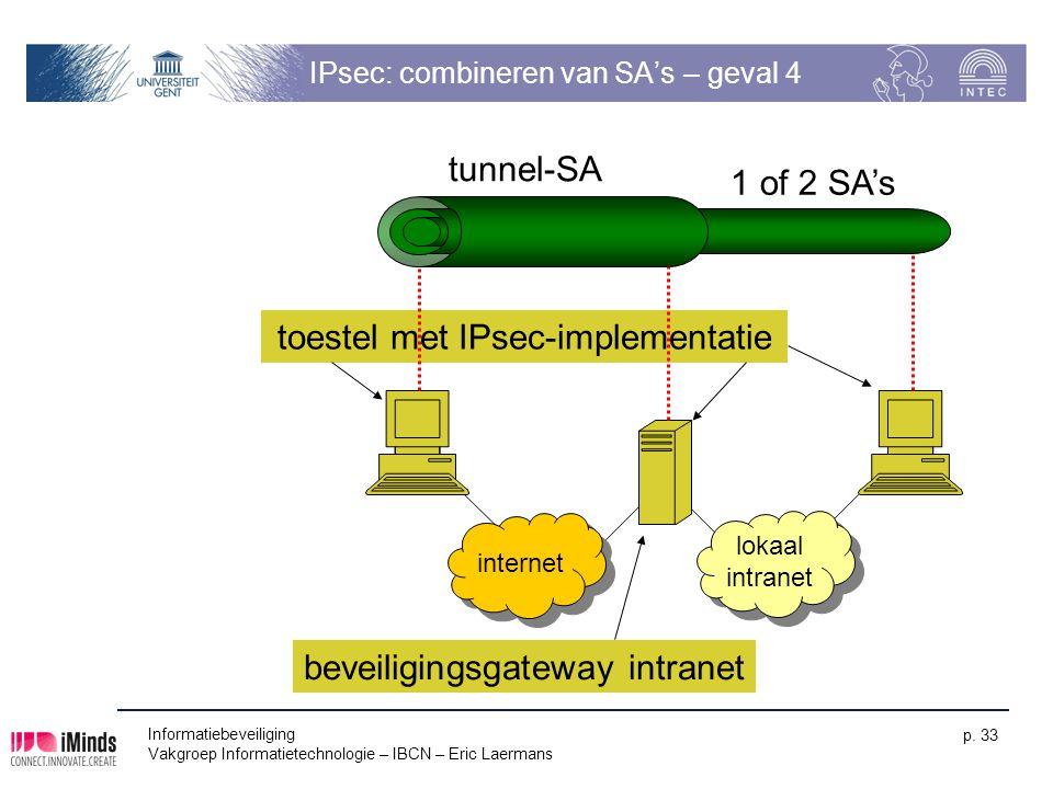 Informatiebeveiliging Vakgroep Informatietechnologie – IBCN – Eric Laermans p. 33 toestel met IPsec-implementatie IPsec: combineren van SA's – geval 4