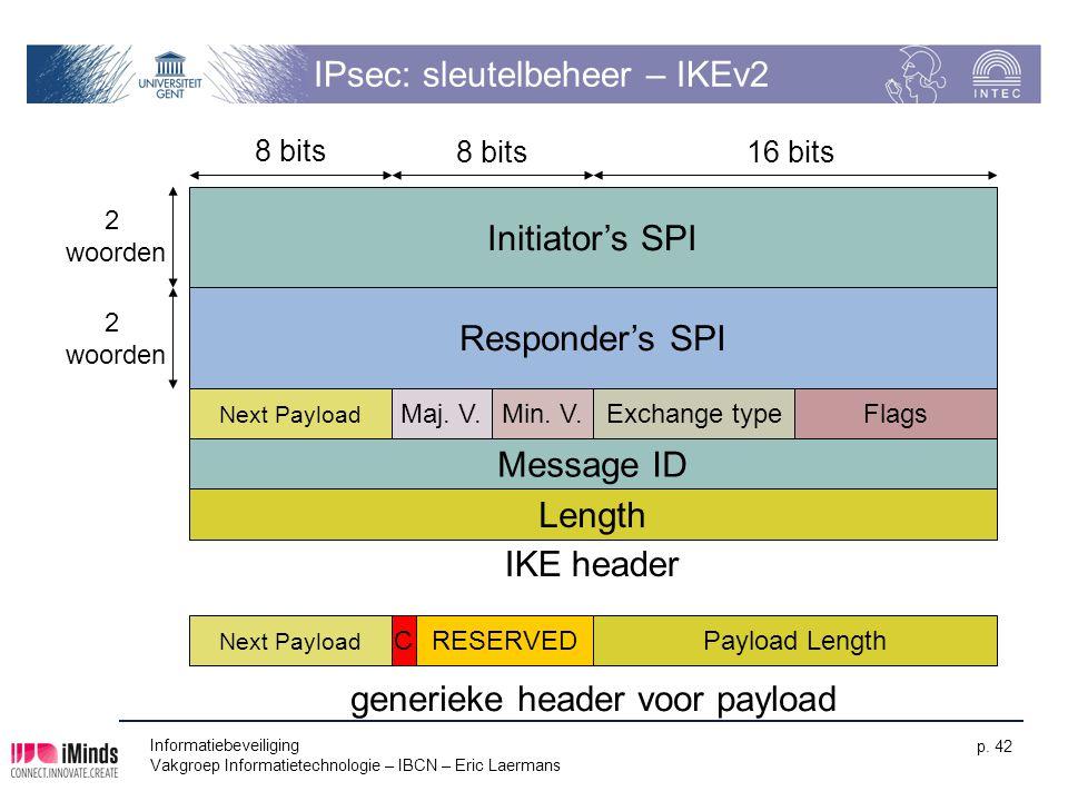 Informatiebeveiliging Vakgroep Informatietechnologie – IBCN – Eric Laermans p. 42 IPsec: sleutelbeheer – IKEv2 Initiator's SPI Message ID Length 8 bit