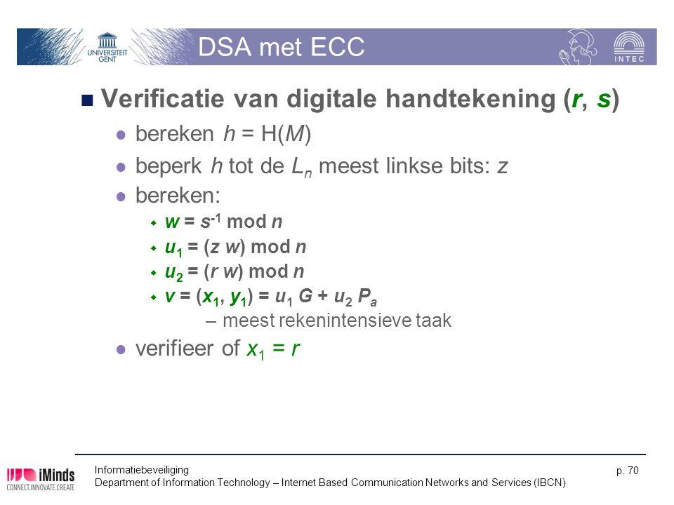 DSA met ECC Verificatie van digitale handtekening (r, s) bereken h = H(M) beperk h tot de L n meest linkse bits: z bereken:  w = s -1 mod n  u 1 = (z w) mod n  u 2 = (r w) mod n  v = (x 1, y 1 ) = u 1 G + u 2 P a –meest rekenintensieve taak verifieer of x 1 = r Informatiebeveiliging Department of Information Technology – Internet Based Communication Networks and Services (IBCN) p.
