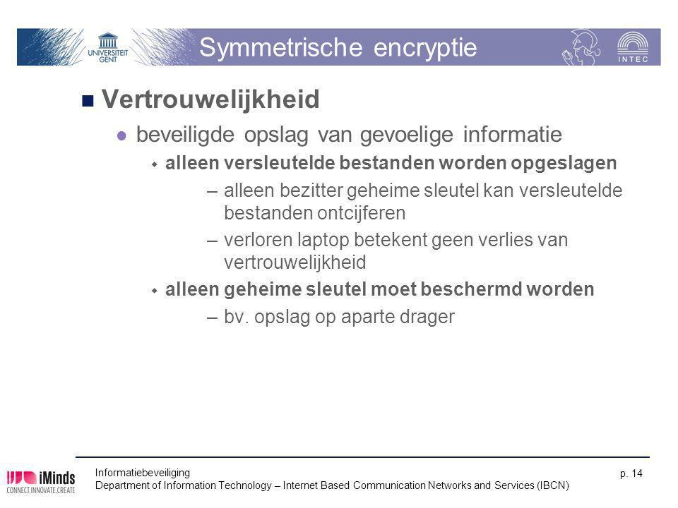Informatiebeveiliging Department of Information Technology – Internet Based Communication Networks and Services (IBCN) p. 14 Symmetrische encryptie Ve