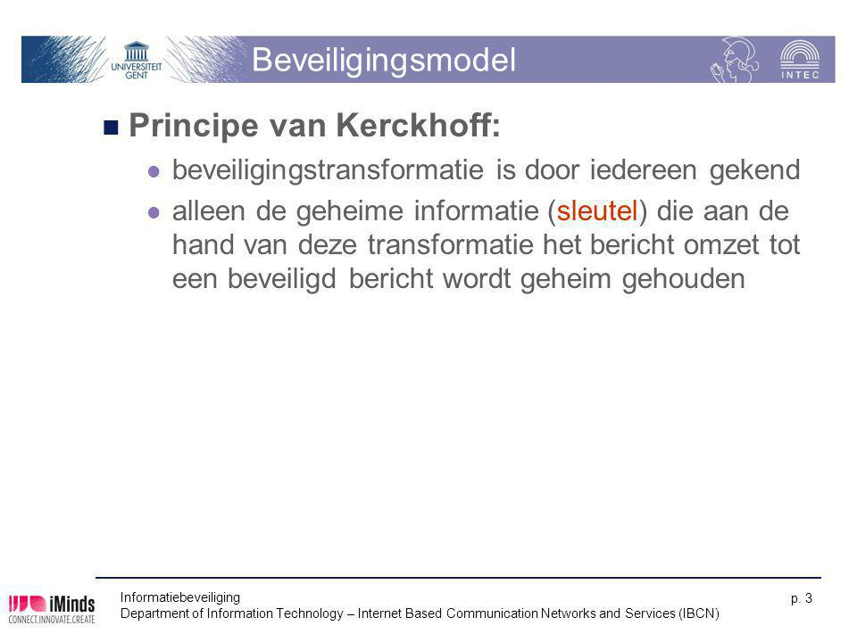 Informatiebeveiliging Department of Information Technology – Internet Based Communication Networks and Services (IBCN) p. 3 Beveiligingsmodel Principe