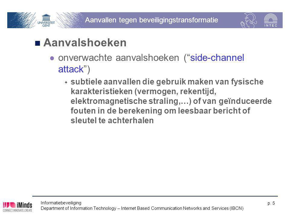 Informatiebeveiliging Department of Information Technology – Internet Based Communication Networks and Services (IBCN) p. 5 Aanvallen tegen beveiligin