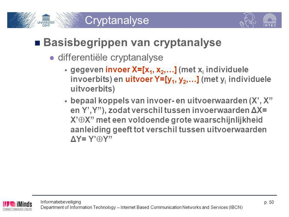 Informatiebeveiliging Department of Information Technology – Internet Based Communication Networks and Services (IBCN) p. 50 Cryptanalyse Basisbegripp