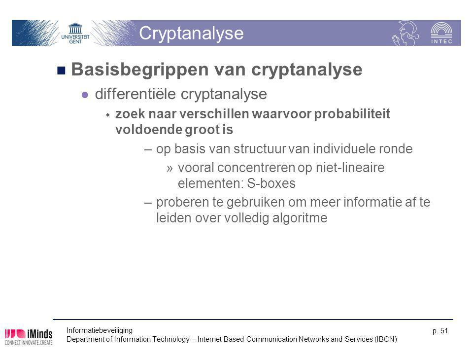 Informatiebeveiliging Department of Information Technology – Internet Based Communication Networks and Services (IBCN) p. 51 Cryptanalyse Basisbegripp