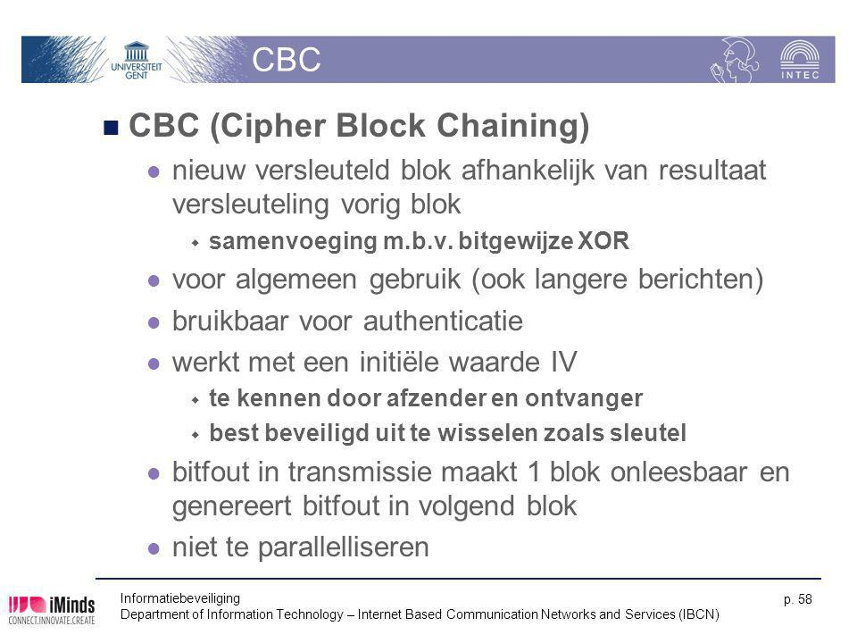 Informatiebeveiliging Department of Information Technology – Internet Based Communication Networks and Services (IBCN) p. 58 CBC CBC (Cipher Block Cha