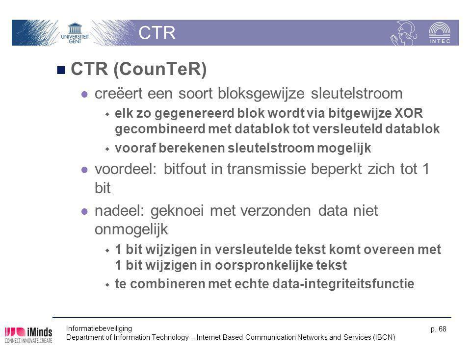 Informatiebeveiliging Department of Information Technology – Internet Based Communication Networks and Services (IBCN) p. 68 CTR CTR (CounTeR) creëert
